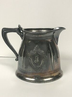 Antique 1900s Forbes Silver Co J Monogram Silver-plate Creamer