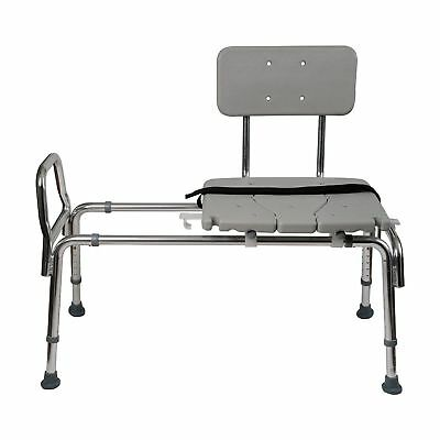Duro-Med Heavy-Duty Sliding Transfer Bench Shower Chair with Cut-out Seat
