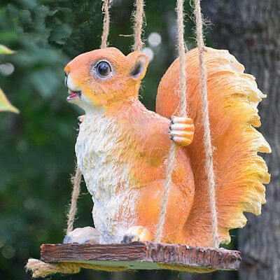 Garden Yellow Squirrel Statue Resin Outdoor Decor Patio Lawn Yard Ornament