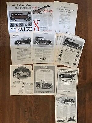 V 1914-27 Paige 8 Ads lot of 12 with Duplicates