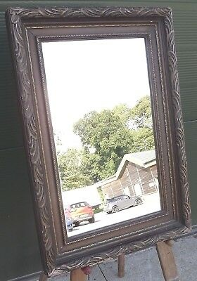 Antique Edwardian Gilt-Framed Wall Mirror with a Carved Wooden Frame
