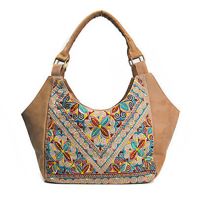 Brenice Women Embroidery Floral National Chinese Style Shoulder Bag Handbag