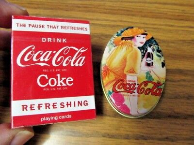 Vintage Coca-Cola Oval Shaped Tin Sewing Kit Advertising  Minature Deck of Cards