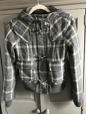 Top Shop Size 8 Grey Checked Hooded Jacket With Faux Fur Lining