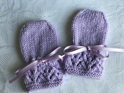 New Hand Knitted Baby Girl's Lilac Mittens, Fits 0-3 Months