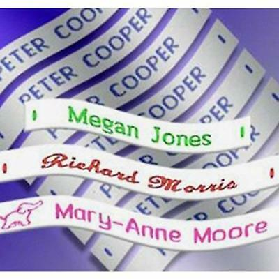 120 Woven Sew on Name Tapes Tags Labels Personalised Lettering Styles & Motifs