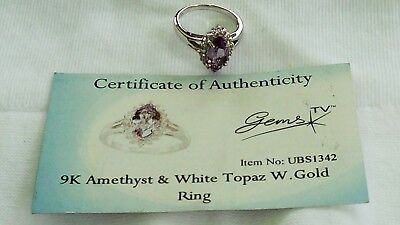 Uk Hallmarked 9Ct White Gold Amethyst & White Topaz Cluster Ring With Coa,sz N