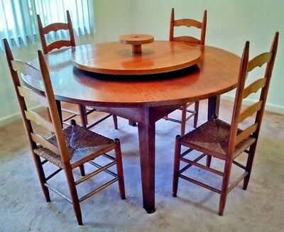 "60"" Mid Century 1950'S Solid Wood & Oak Veneer 5' Rd Dining Table Amish Quaker"