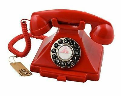 Retro Rotary Style Phone Corded Vintage Telephone Push Button Dial Keypad Red