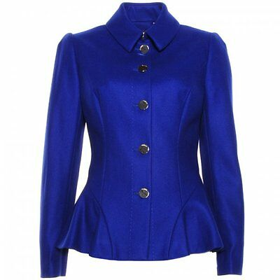 "Ted Baker Blue""bracti""peplum Wool&cashmere Jacket Coat Bnwt Uk 6/0 Us 2 Rrp £249"