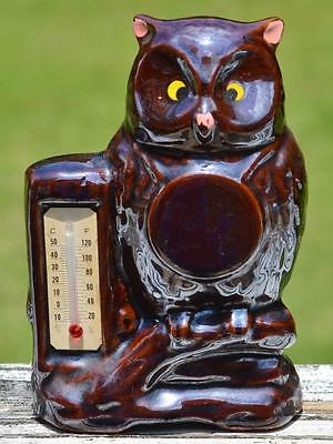 Vintage Cute Ceramic Hoot Owl Band & Thermometer Made in JAPAN