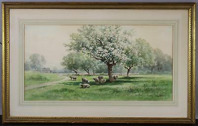 Antique CARL WEBER American Country Bucolic Sheep Landscape Watercolor Painting