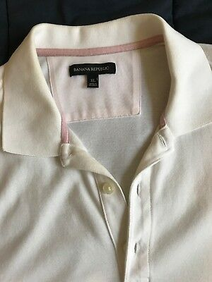 Banana Republic Mens Short Sleeve Polo Shirt White w/ Elephant Logo Extra Large