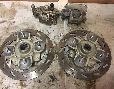 2007-2015 Yamaha Grizzly 550 700 Front Brake Calipers And Rotors Left Right Pair