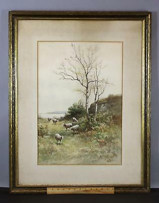 Antique CARL WEBER Bucolic Sheep & Birch Tree Landscape Watercolor Painting