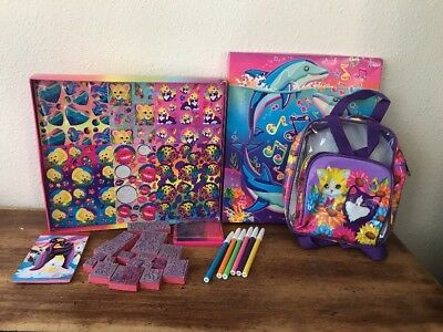 Vintage Lisa Frank Kittens Mini Backpack Clear Plastic With Stickers And Stamps