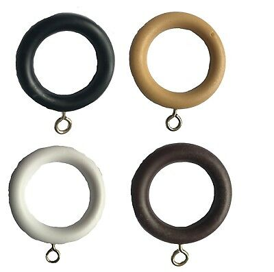 Plastic Curtain Pole Rings Wood Effect With Eyelet Drapery Ring - 2 sizes