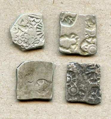 Nice Lot of Four Old INDIA Cut-From-Plate Silver Coins! No Reserve!