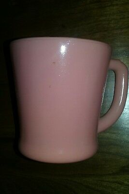 Vintage *FIRE KING* Oven Ware Milk Glass Fired-On Pink Color Mug - NICE!