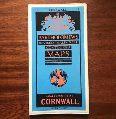 "Bartholomew's Revised ""Half-Inch"" Contoured Maps CORNWALL Sheet 1 good condition"