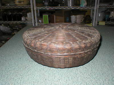 "VTG Antique 10"" Diameter Dark Wicker Sewing Basket Display Only"