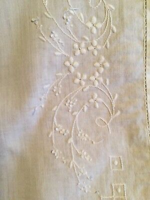 vintage baby pillowcases with fine embroidery, white