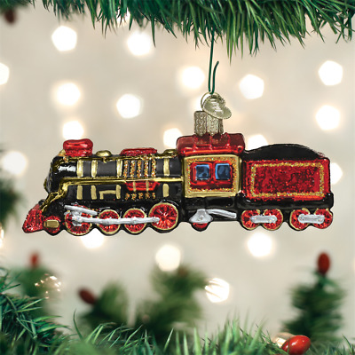 Glass Steam Train Locomotive Ornament by Old World Christmas - Gift Boxed