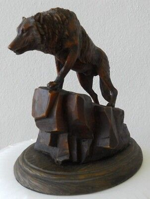 """WOLF Figurine Statue Carving Sculpture - Brown Resin - 6 1/4"""" High"""