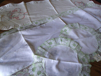 Vintage Runners and Doilies Stamped for Embroidery- Lot of 4