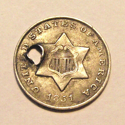 1851-O Three Cent Silver Piece FINE (LOT Y371)*HOLED**ONLY YEAR NEW ORLEANS MINT