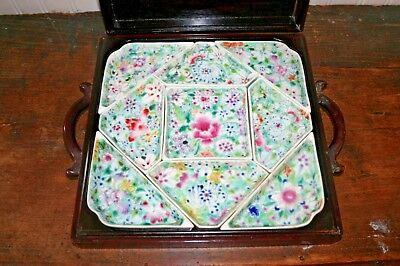 ANTIQUE CHINESE Porcelain SWEETMEAT DISH SET FAMILLE ROSE Wood BOX Sweet Meat
