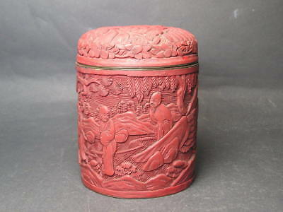 Antique Chinese Carved Cinnabar Lacquer Lidded Tea Caddy Jar or Box