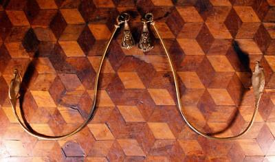 Vintage Gilded Brass Bronze French Curtain Swing Tie Back Hooks Ormalu Rococo