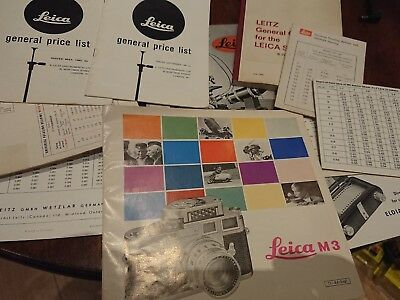 VINTAGE LEICA CAMERA BROCHURES - GUIDES -  M3, price list, 1950s 1960s