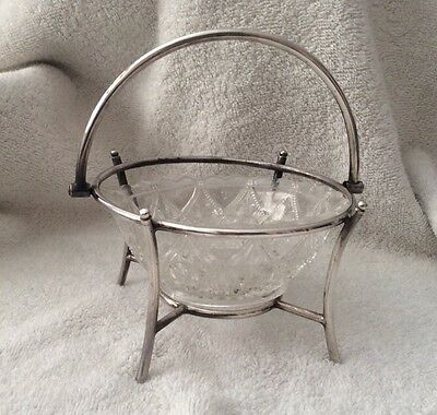 Vintage Silver Plate And Pressed Glass Sugar Bowl