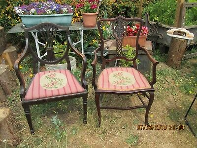 Pair of original antique georgian carver chairs, one engraved underneath B 91.