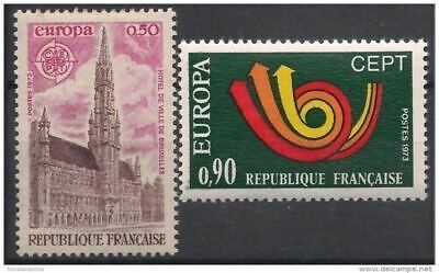 France 1973 Europa Buildings Brussels Town Hall Posthorn Animation 2v set MNH