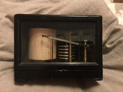 Antique Jules Richard Freres Paris France Barograph Cased In Black Mahogany 1900