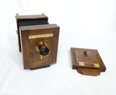 Fantastic Wet Plate Camera - 4X5 Inches - With A James W. Queen & Co. Brass Lens