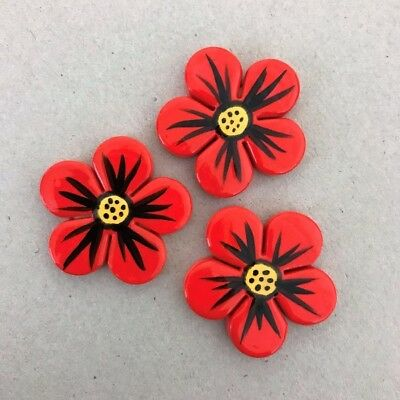 CERAMIC MOSAIC FLOWERS x3 - 33mm in diameter - Red ~ Mosaic, Art, Craft Supplies