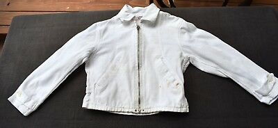 vtg 50's 60's little boys JUSTIN white cotton zip JACKET side waist buckles