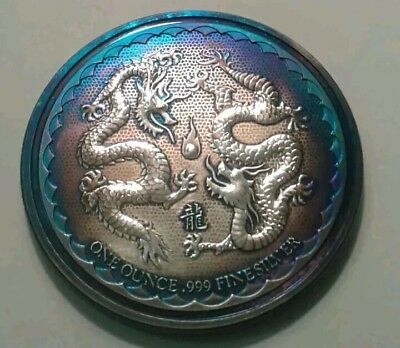 2018 niue double dragon 1oz silver coin with Beautiful toning, TONED.