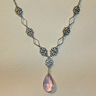 Lacy Filigree Victorian Style Pink Glass Crystal Dark Silver Pl Necklace