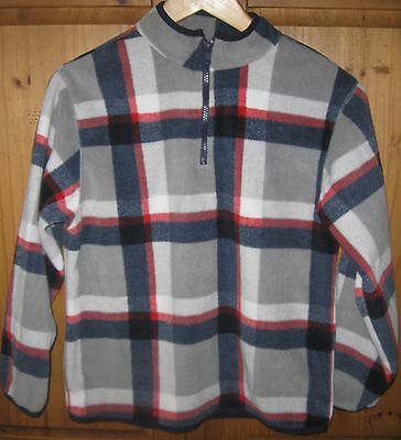 Gymboree Boys Fleece Plaid Blue Red Sweater 1/4 Zip Pullover Top Large 10 12