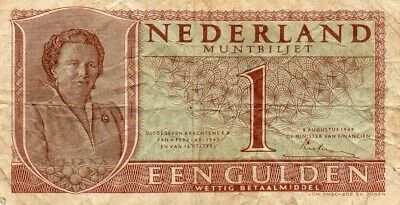 Netherlands 1 Gulden 1949 Muntbiljet (AA-KZ type1) Queen Juliana P72 / PL7.a1 FW