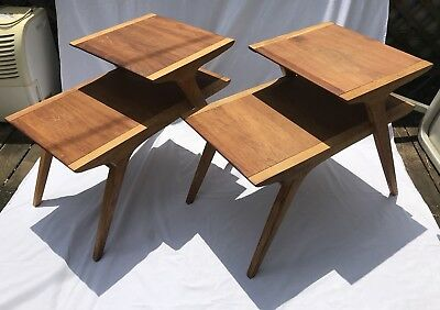 Drexel Profile Mid Century modern Walnut Pecan Step End Tables Side Tables pair