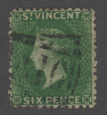 St. Vincent - 1868 6 Penny Deep Green. Sc. #8, SG #7. Used