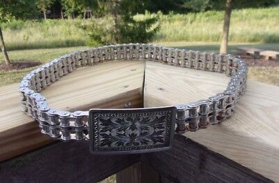 Old School Motorcycle Chain Biker Belt with Silver Buckle