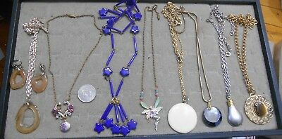 Vintage Lot Of 8 Large Pendant Lavalier Necklaces,1 Germany W/earrings
