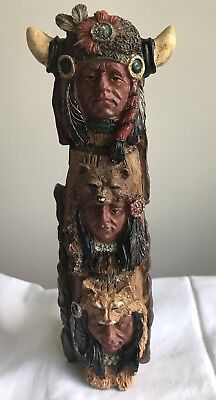 "£• Vintage Native American Indian Totempole Heavy Resin 9 1/2"" Figurine"